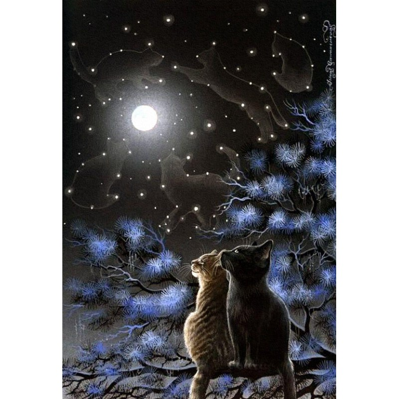 Moon Night Cat Cross...