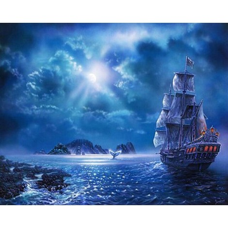 2019 Dream Boat Pattern Wall Decor 5d Diy Diamond Painting Kits UK VM9547