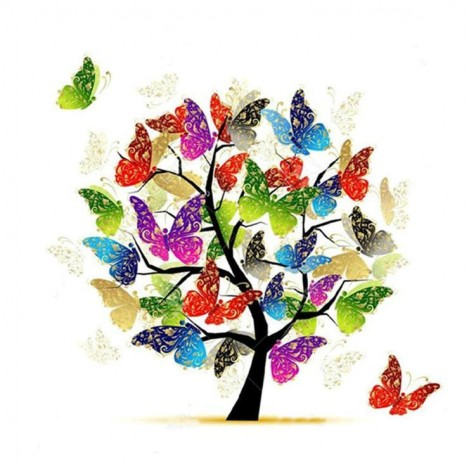 Modern Art Styles Colorful Butterfly Tree Diamond Painting Kits UK AF9552