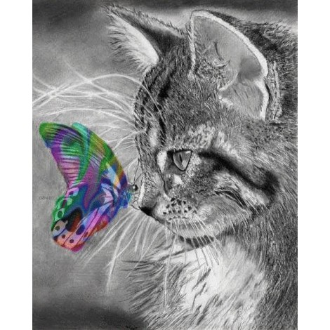 2019 Dream Cat And Butterfly Diamond Painting Full UK VM1091