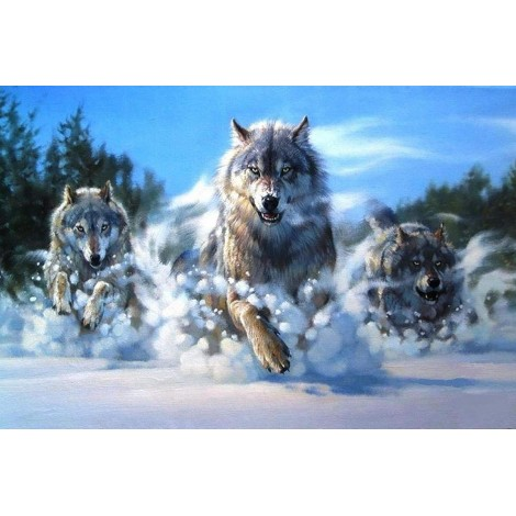 2019 Full Square Drill Wolf 5D Diy Cross Stitch Diamond Painting Kits UK NA0233