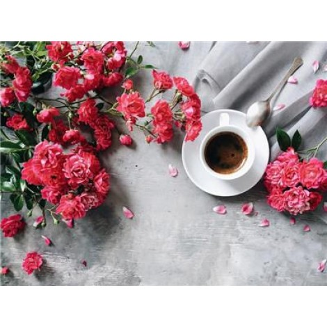 2019 New Hot Sale Coffee Cup And Flower Diy 5d Diy Crystal Painting Kits UK VM3015
