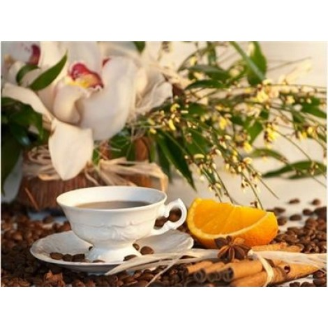 Coffee Cup And Flower Picture Diy 5d Diy Crystal Painting Kits UK VM03019