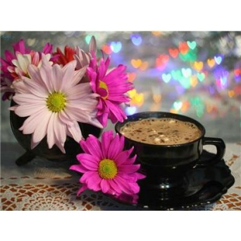 Coffee Cup And Flower Picture Diy 5d Diy Crystal Painting Kits UK VM3016