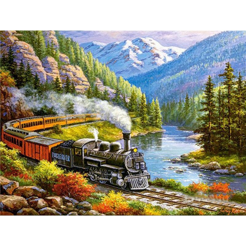 Oil Painting Style Train ...