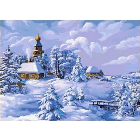 2019 Wall Decor Snowy Village In Winter 5d Diy Diamond Painting Kits UK VM7630
