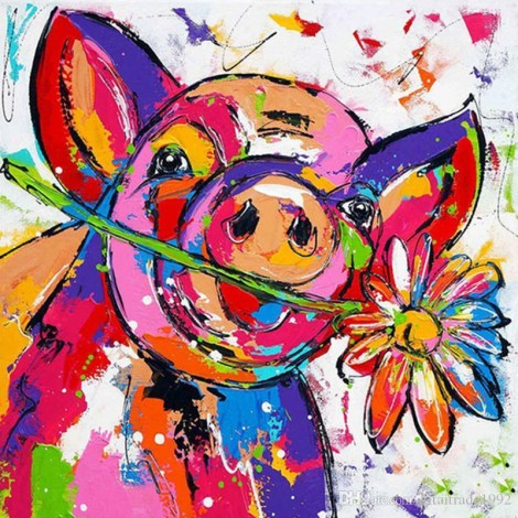 Special Full Drill Pig 5D Diy Cross Stitch Diamond Painting Kits UK NA0337