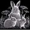 Black White Full Square Drill Rabbit Family 5D Diy Diamond Painting Kits UK NA0259