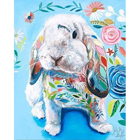 Watercolor Rabbit 5D Diy Embroidery Diamond Painting Kits UK NA0260