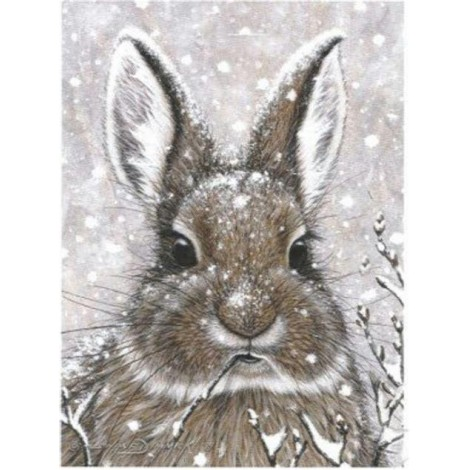 Full Square Drill Winter Rabbit 5D Diy Cross Stitch Diamond Painting Kits UK NA0219