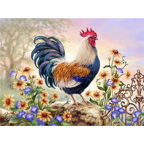 Hot Sale Oil Painting Style Cock 5D Diy Diamond Painting Kits UK NA0271