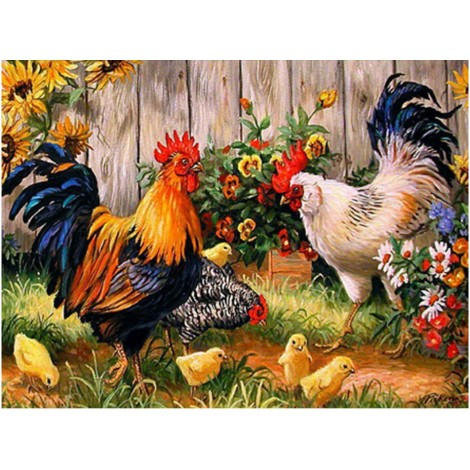 5d Oil Painting Style New Arrival Cock In Garden 5d Diamond Painting Kits UK VM8557
