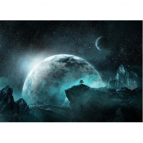 Dream Series Super Cool Blue Planet Starry Sky Diamond Painting Kits UK AF9688