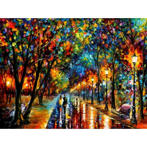 Home Decorate Oil Painting Style Street After Rain 5d Diy Diamond Painting Kits UK VM9947