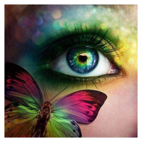 Dream  Colored Beautiful Eyes And Butterfly Diy 5d Diamond Painting UK VM1223