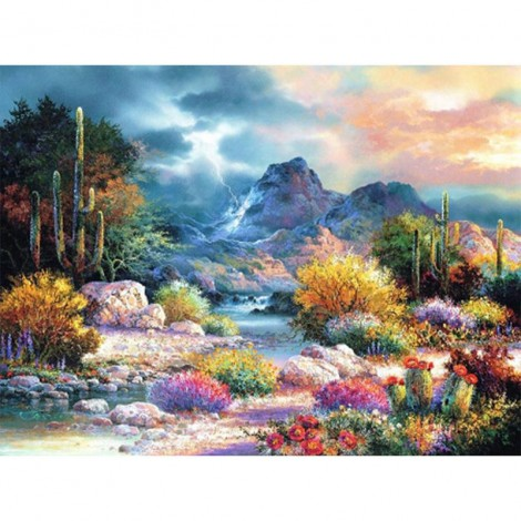 Oil Painting Style Plant Cactus 5D Diy Embroidery Diamond Painting Kits UK NA0387