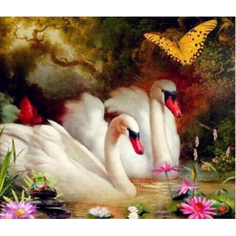2019 Dream Square Diamond Swan Wall Decor 5d Diy Diamond Painting Kits UK VM7355