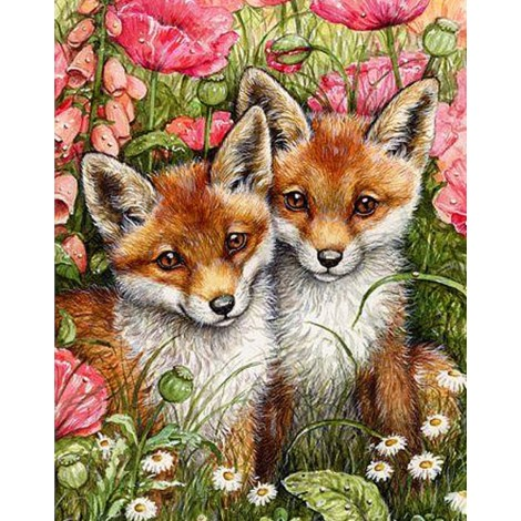 Oil Painting Style Full Square Drill Fox 5d Diy Diamond Painting Kits UK NA0462