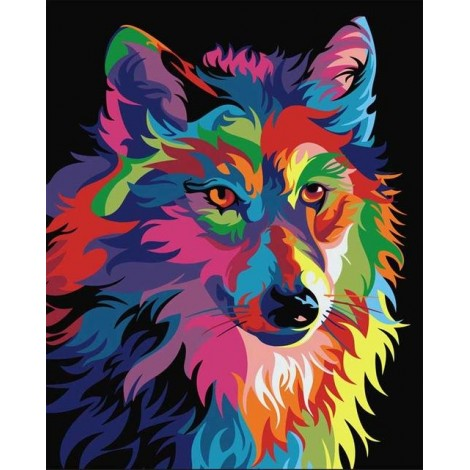 Special Dream Colorful Wolf 5D Diy Diamond Painting Cross Stitch Kits UK VM4209